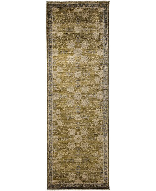 "Timeless Rug Designs CLOSEOUT! One of a Kind OOAK3624 Sage 3'2"" x 9'9"" Runner Rug"