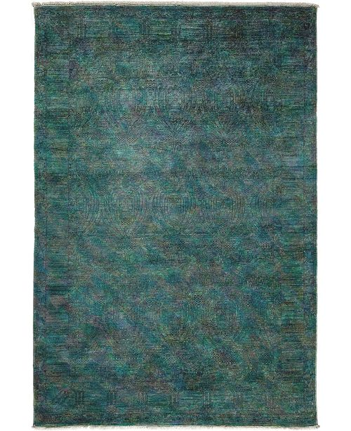 """Timeless Rug Designs CLOSEOUT! One of a Kind OOAK3652 Teal 6' x 8'10"""" Area Rug"""