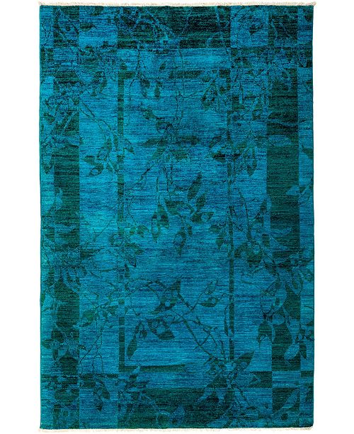 "Timeless Rug Designs CLOSEOUT! One of a Kind OOAK3111 Turquoise 5'2"" x 8' Area Rug"