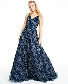 Juniors' Floral Glitter Gown