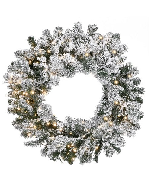 National Tree Company 24in. Snowy Sheffield Spruce Wreath with Battery Operated LED Lights