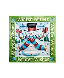 Holiday Happenings Caroling Snowmen Square Glass Platter
