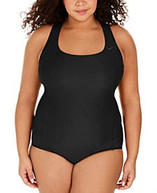 Plus Size Solid Essential Crossback One-Piece Swimsuit