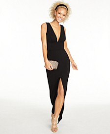 Juniors' Deep-V Open-Back Dress