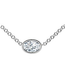 Tribute™ Collection Oval Diamond (1/4 ct. t.w.)  Necklace in 18k Yellow, White and Rose Gold