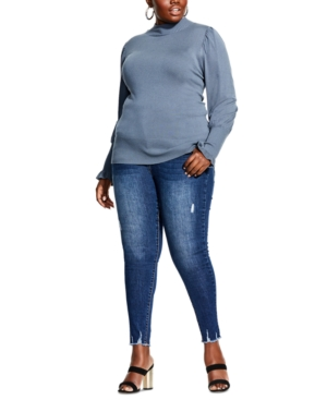 City Chic TRENDY PLUS SIZE PUFF-SHOULDER SWEATER
