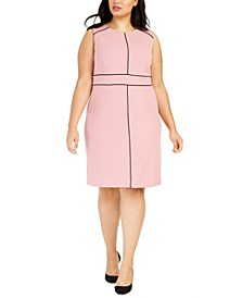 Plus Size Contrast-Piped Jewel-Neck Sheath Dress