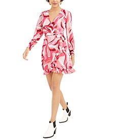 Printed Ruffled Wrap Mini Dress, Created For Macy's