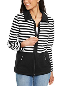 Colorblocked Wing Collar Zip-Front Jacket, Created for Macy's