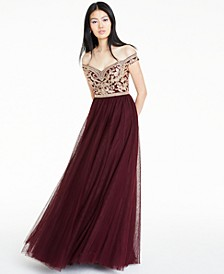 Juniors' Embellished Off-The-Shoulder Gown, Created for Macy's