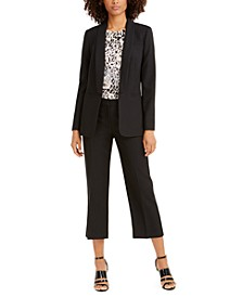 Twill Blazer, Printed Top & Cropped Twill Pants