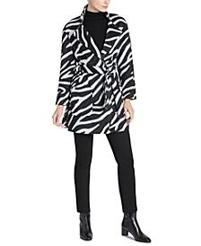 Zebra-Print Belted Wrap Coat