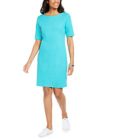 Karen Scott Cotton Cuffed-Sleeve Dress, In Regular and Petite, Created for Macy's