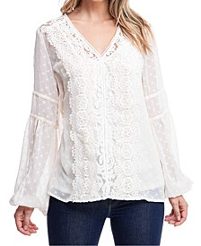 Lace-Trim Swiss-Dot Top