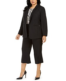 Plus Size Twill Blazer, Printed Top & Twill Cropped Pants