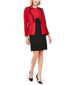 Contrast-Trim Single-Button Blazer & Colorblocked Sheath Dress