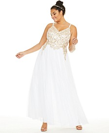 Trendy Plus Size Embroidered Corset Gown