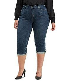 Trendy Plus Size Shaping Capri Jeans