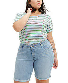 Levi's® Trendy Plus Size Shaping Denim Bermuda Shorts
