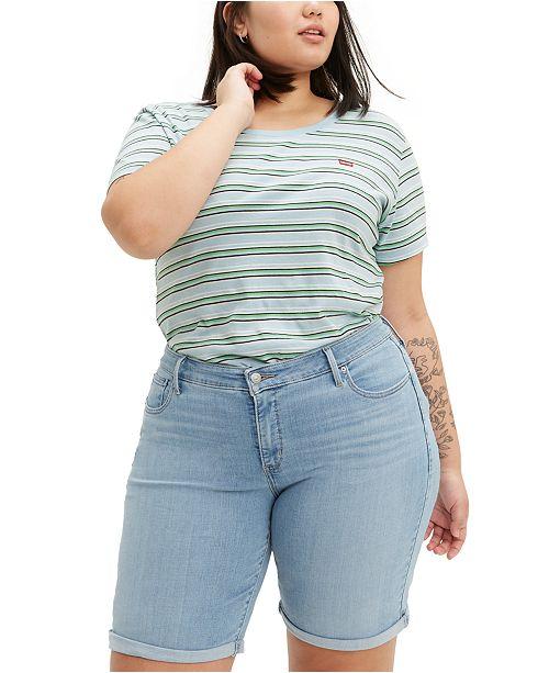 Levi's Trendy Plus Size Shaping Denim Bermuda Shorts