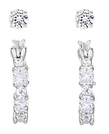 Cubic Zirconia 2-Pc. Hoop and Round Stud Earrings in Fine Silver Plate
