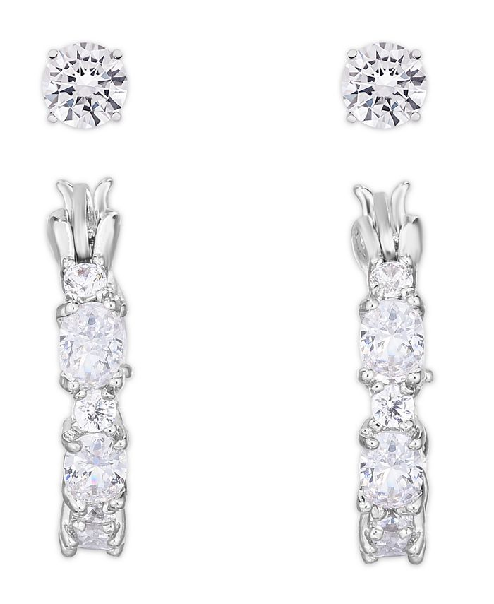Macy's - Cubic Zirconia 2-Pc. Hoop and Round Stud Earrings in Fine Silver Plate