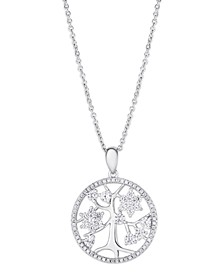 Cubic Zirconia Tree of Life Pendant Necklace in Fine Silver Plate