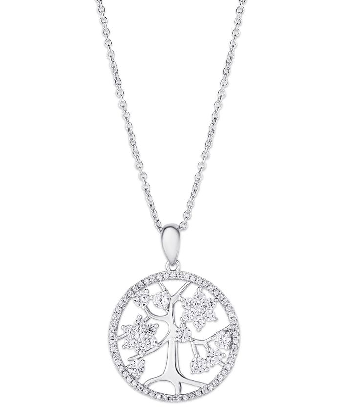 Macy's - Cubic Zirconia Tree of Life Pendant Necklace in Fine Silver Plate