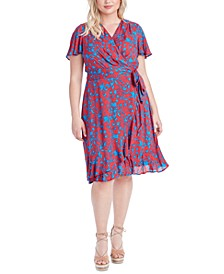 Trendy Plus Size Ellie Printed Faux-Wrap Dress