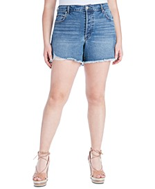 Trendy Plus Size Infinite High-Waist Denim Shorts