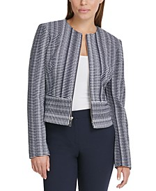 Petite Printed Zippered Jacket