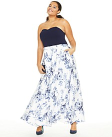 Trendy Plus Size Strapless Scuba & Toile Gown