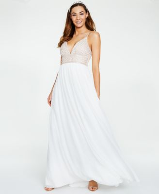 $280 Jump Apparel Juniors/' White Beaded Sequined Spaghetti Strap Dress Size 3