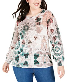 INC Plus Size Tie-Dyed Textured Sweater, Created for Macy's