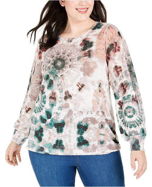 INC International Concepts INC Plus Size Tie-Dyed Textured Sweater, Created For Macy's