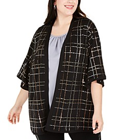Plus Size Sequined Kimono Cardigan
