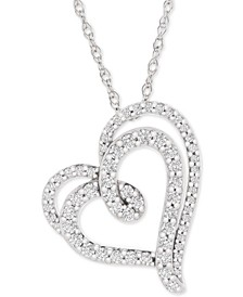 "Diamond Double Floating Heart Pendant Necklace (1/2 ct. t.w.) in 14k White Gold, 18"" + 2"" extender"