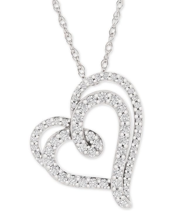 "Macy's Diamond Double Floating Heart Pendant Necklace (1/2 ct. t.w.) in 14k White Gold, 18"" + 2"" extender"
