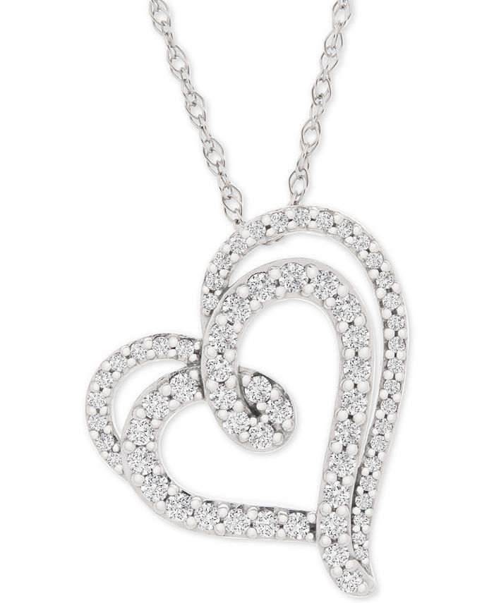 """Macy's - Diamond Double Floating Heart Pendant Necklace (1/2 ct. t.w.) in 14k White Gold, 18"""" + 2"""" extender"""
