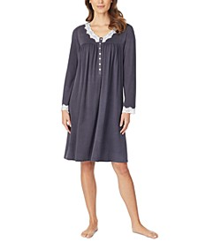 Sweater-Knit Lace-Trim Nightgown