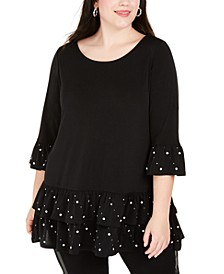 Plus Size Embellished Ruffle-Trim Tunic