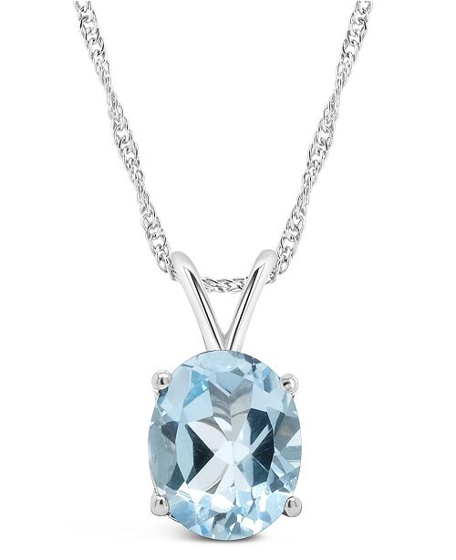 Macy's Sky Blue Topaz (3  ct. t.w.) Pendant Necklace in Sterling Silver. Also Available in Citrine, Amethyst and Rose Quartz