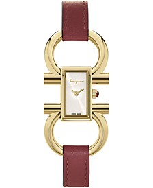 Women's Swiss Double Gancini Red Leather Strap Watch 14x23mm