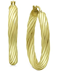 "Medium Twist Tube Hoop Earrings in 18k Gold-Plated Sterling Silver, 1.1"", Created for Macy's"