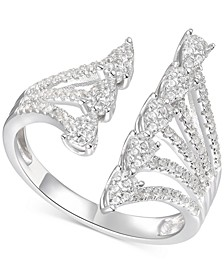 Diamond Teardrop Cluster Cuff Statement Ring (1/2 ct. t.w.) in 14k White Gold