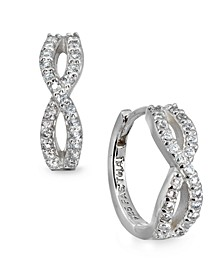 Cubic Zirconia Infinity Huggie Hoop Earrings in Sterling Silver