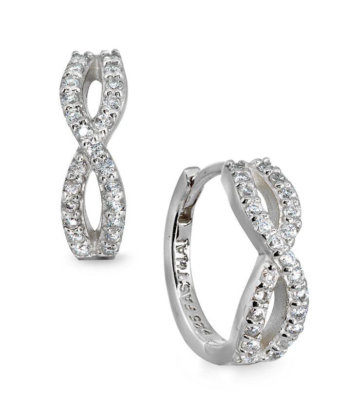 Giani Bernini - Cubic Zirconia Infinity Huggie Hoop Earrings in Sterling Silver