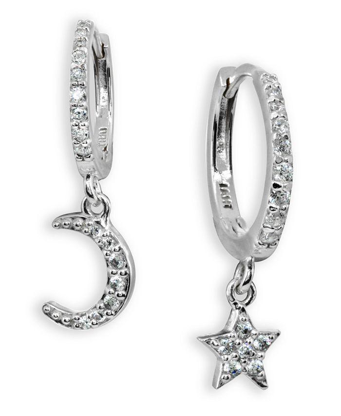 Giani Bernini - Cubic Zirconia Moon & Star Charm Drop Huggie Hoop Earring in Sterling Silver or 18k Gold Plated Sterling Silver
