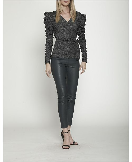Walter Baker Stretchy Knit Wrap Top with Leg of Mutton Sleeves