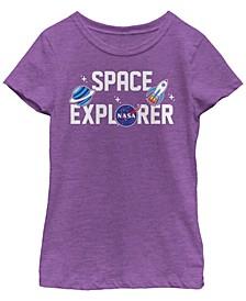 NASa Big Girl's Space Explorer Cute Sticker Emoji Short Sleeve T-Shirt